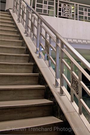 Building 500, University of Colorado Anschutz Medical Campus stair case example of Art Deco