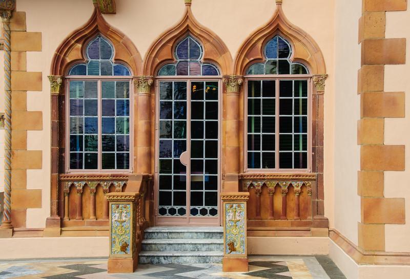 Colored Glass Door & Windows, Ca' d'Zan Mansion, Ringling Museum, Sarasota, Florida