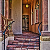 External corridor leading to wooden door, Ca' d'Zan Mansion, Ringling Museum, Sarasota, Florida