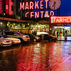 Public Market Sign at Night with Colorful Reflections, Pike Place Market, Pike Street, Seattle, Washington