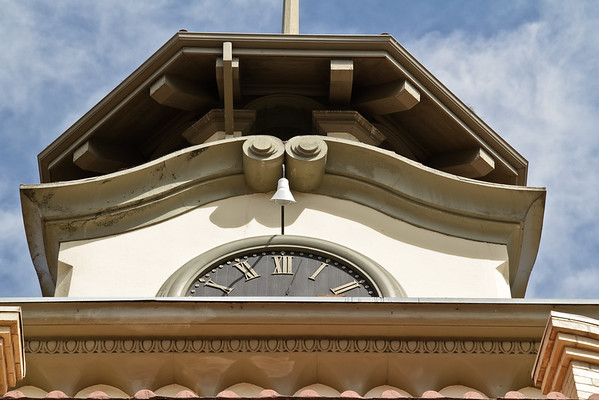 Clock and Bell Tower at Former City Hall in Gilroy, CA