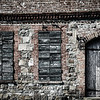 Closed Door and Shuttered windows, Old Stone Warehouse, Factors Row, Savannah, Georgia