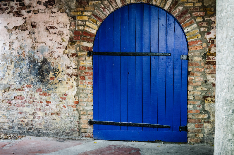 Blue Warehouse Door, Redcliffe Quay, St. John's, Antigua