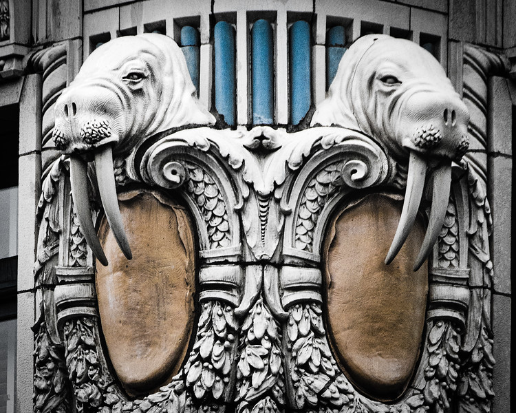 Walrus Carving, Doubletree Arctic Club Hotel, 3rd Avenue & Cherry Street, Seattle, Washington
