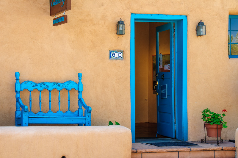 Santa Fe Style Turquoise Architecture Detail, Canyon Road, New Mexico