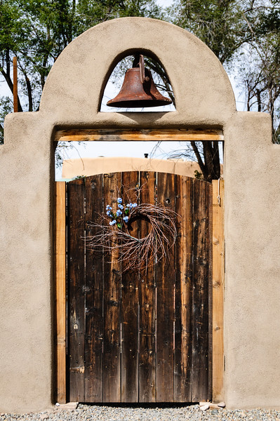Wooden Door and Bell, 3rd Stret, Cerrillos, New Mexico