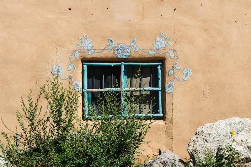 Flower Mural over wWndow, Ranchos de Taos, New Mexico