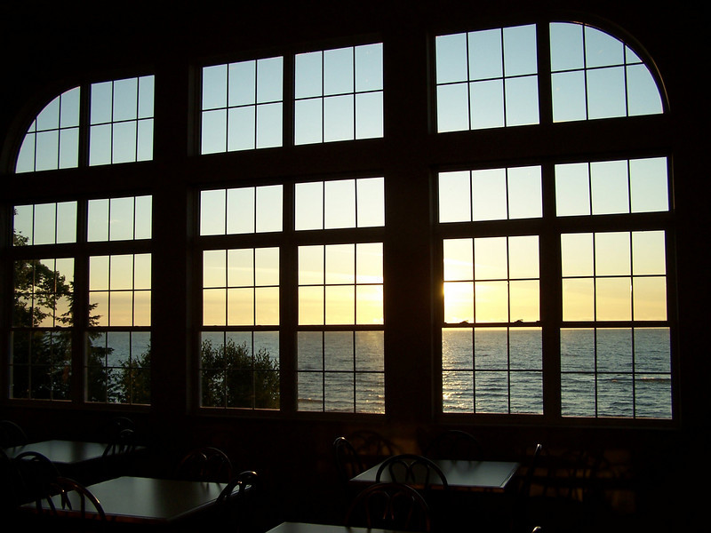 Sunrise over Lake Superior from Americinn in Munising, Michigan