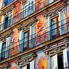 Colorful, Mural-lined Building in the Plaza Mayor Square, Madrid, Spain