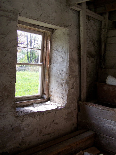 Window view from inside a century-old Door County barn (Maple Grove Road, Fish Creek)