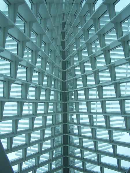 Looking straight up to the 90-foot-high glass ceiling of Quadracci Pavilion's Windhover Hall at Milwaukee Art Museum.