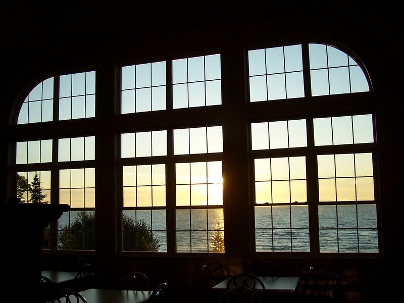 Sunrise view in breakfast area of Americinn in Munising, Michigan.