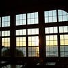 Sunrise view in breakfast area of Americinn in Munising, Michigan.