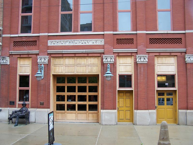 Doors of  Engine Company No. 10 in the Milwaukee's Historic Third Ward.