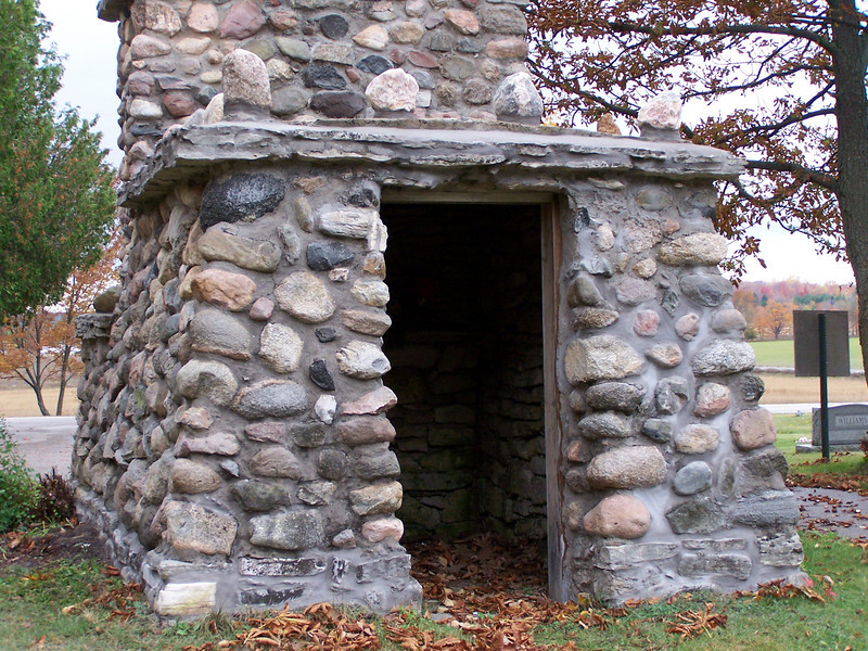 Native stone storage building at the Baileys Harbor cemetery in Door County, Wisconsin.