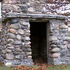 Native stone storage building at the Baileys Harbor cemetery in Door County, Wisconsin.