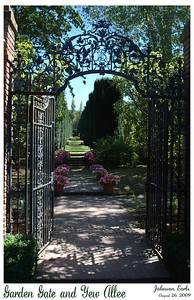 Garden Gate and Yew Allée  Photos from Filoli:  One of the wrought-iron gates in Filoli's gardens, topped with William Bourne's monogram; Yew Allée leads back from the gate to the High Place in the south.  Filoli Gardens, 26 August 2009.