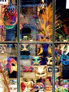 Window display of Mardi Gras mask in New Orleand.