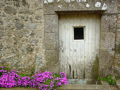 Old door on the side of a French chateau.