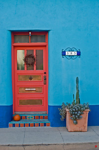 Charming festive barrio doorway in downtown Tucson.