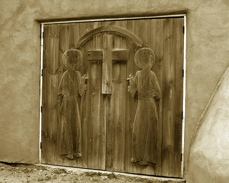 Door of the Parish Office of the San Francisco De Asis Catholic Church<br /> Ranchos de Taos, New Mexico