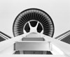A view of the Space Needle in Seattle looking straight up at the observation deck from the base of the structure. (Scanned from black and white film.)