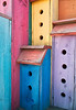 A very colorful birdhouse with colors in vivid paint colors for each section. This is a single structure with mutliple holes to give this structure the ability to support a flock of birds.