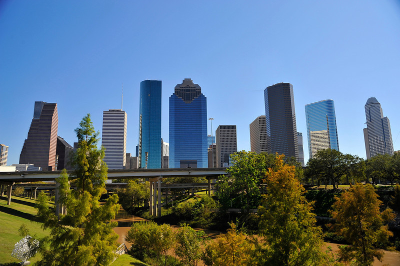 On a clear, sunny day, with blue cloudless skies, I decided to take a stroll around Downtown Houston with a wide angle lens to get some cityscape shots. Here's a view of Houston's dynamic skyline as seen from the Sabine Street bridge.