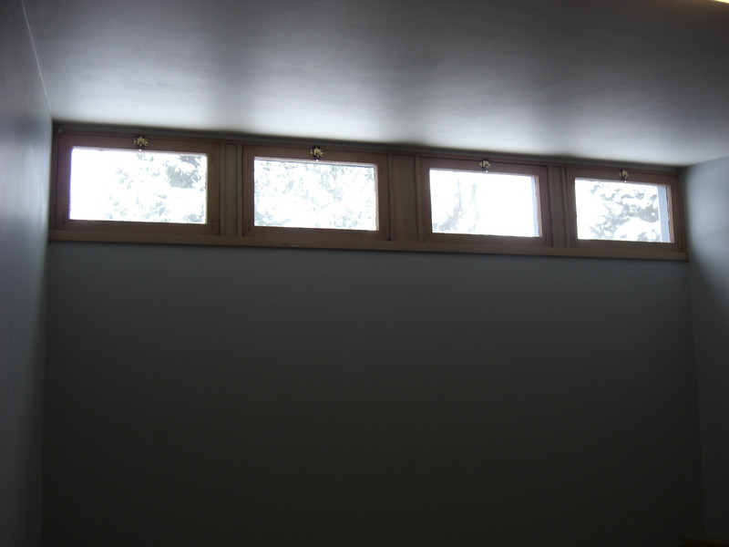 clerestory windows in one of the small bedrooms