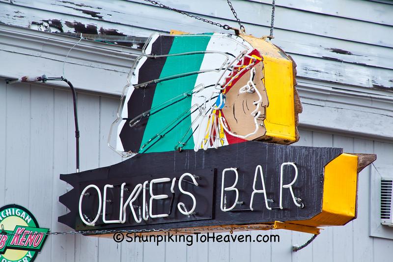Olkie's Bar Neon Sign, Ironwood, Michigan
