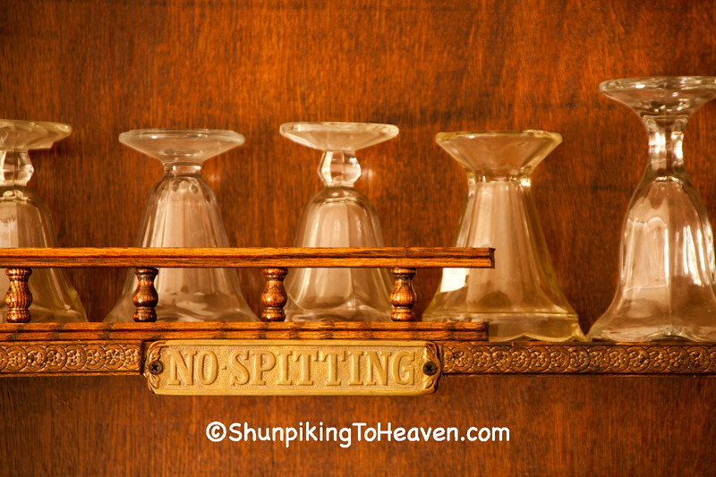 Soda Fountain Glasses and No Spitting Sign, Markleville, Indiana