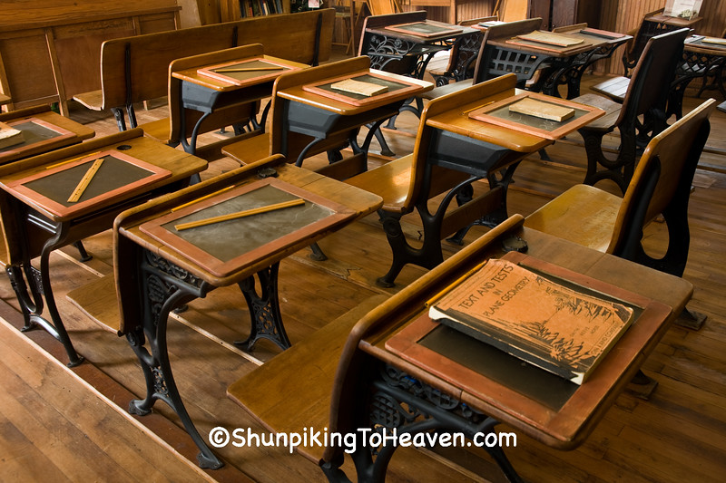 Old Desks, Slates, Books, and Rulers, Jackson County, Iowa