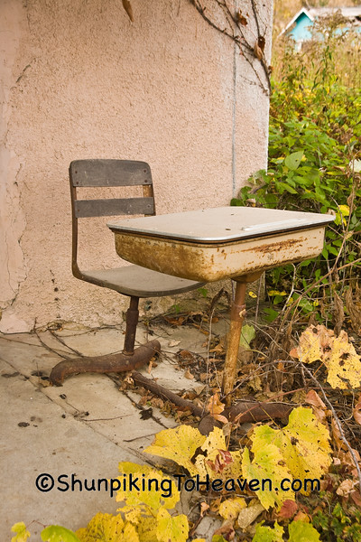 Old Desk at Abandoned One-Room School, Houston County, Minnesota