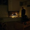 family room fireplace (from the night of move-in day, Todd in the photo)