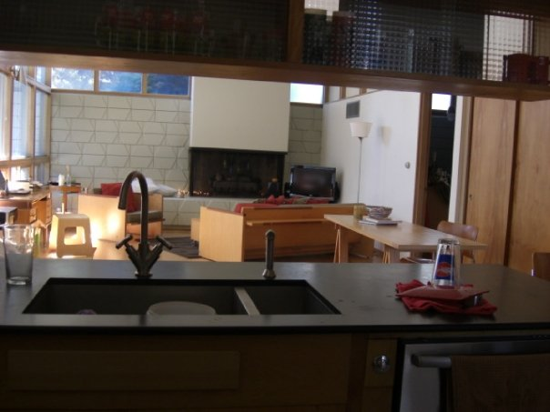 family room, viewed from the kitchen sink