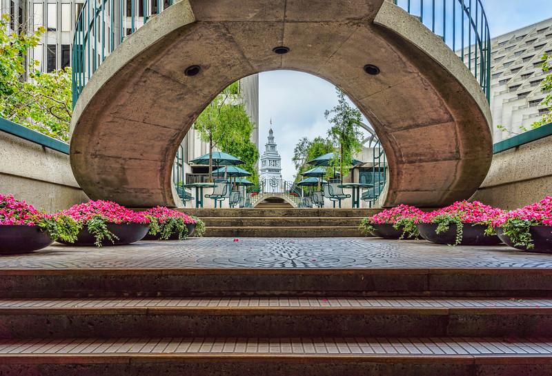 Ferry Building through stairway arch