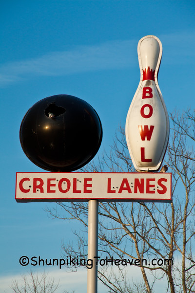 Creole Lanes Bowling Sign, Vincennes, Indiana