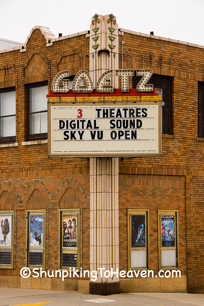 Marquee at Goetz Theatre, Monroe, Green County, Wisconsin