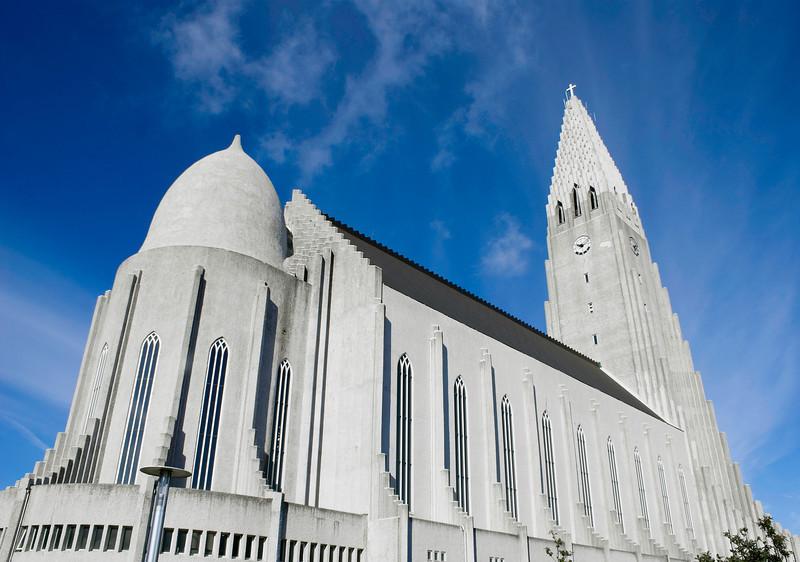 Side View of Hallgrimskirkja Cathedral; Reykjavik; Iceland on a Sunny Summers day.