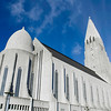 Side View of Hallgrimskirkja Cathedral; Reykjavik; Iceland on a Sunny Summers day.