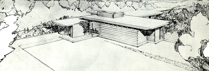 Early sketch of the first F.L. Wright Usonian House (built for H. Jacobs in Wisconsin, 1937) shows key innovative features -- multiple-levels flat roof with deep overhangs, an essentially windowless front exposure protecting the residents privacy, an eccentrically placed entry (concealed, rather than prominent), and a carport (which Wright claimed to have invented, declaring that a garage was useless for anyone who didn't own a horse).
