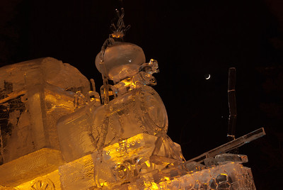 Ice Carvings, the Little Engine, with new moon