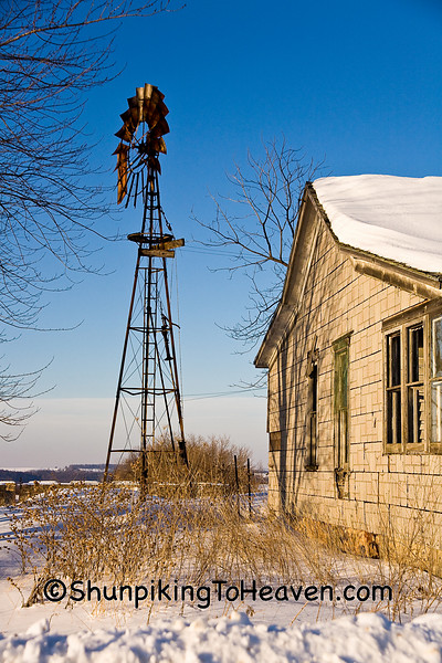 Rusty Windmill and Abandoned House, Richland County, Wisconsin