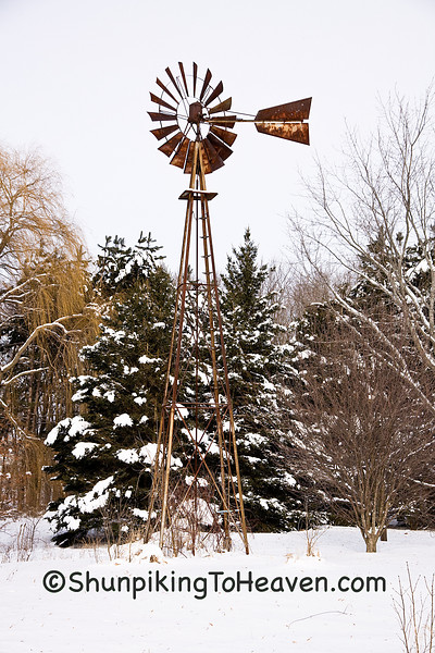 Rusty Windmill in Winter, Rock County, Wisconsin