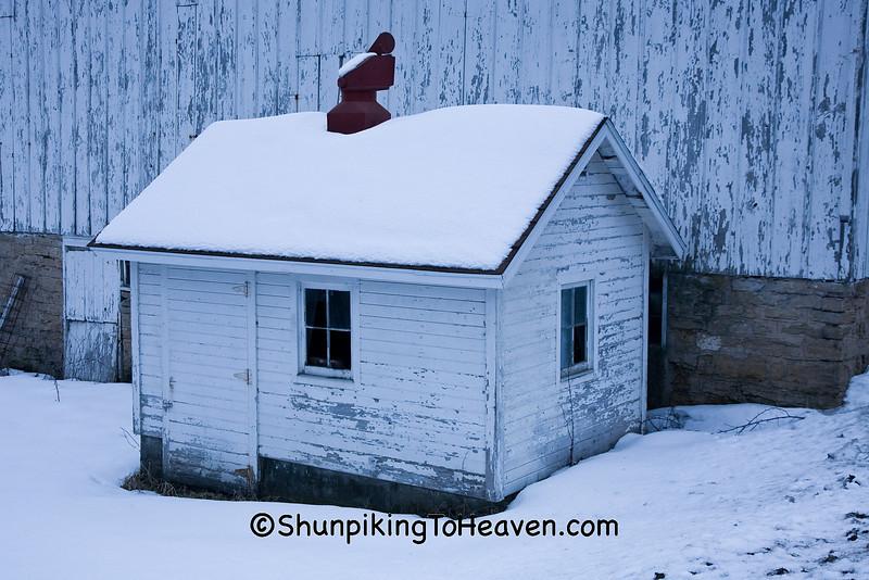 White Milkhouse in Winter, Dane County, Wisconsin