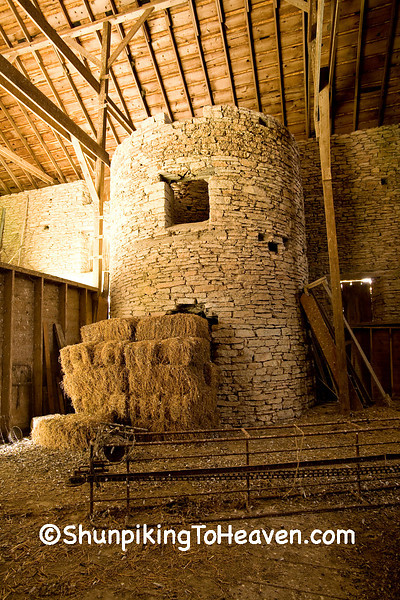 Silo in Drive-thru Stone Barn, Filmore County, Minnesota