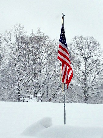 Flag and snow - 5/11/13