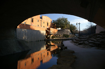 View looking out of the bike trail tunnel which runs underneath the Stockyard District.