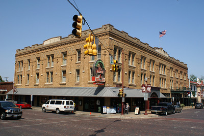 This building was built as the Stockyards Hotel and is still a hotel with a restaurant.