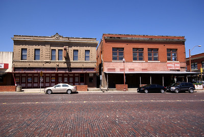Buildings lining main street in the Stockyards.